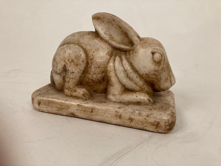 Anglo-Indian Carved Marble Figure of a Rabbit For Sale 4