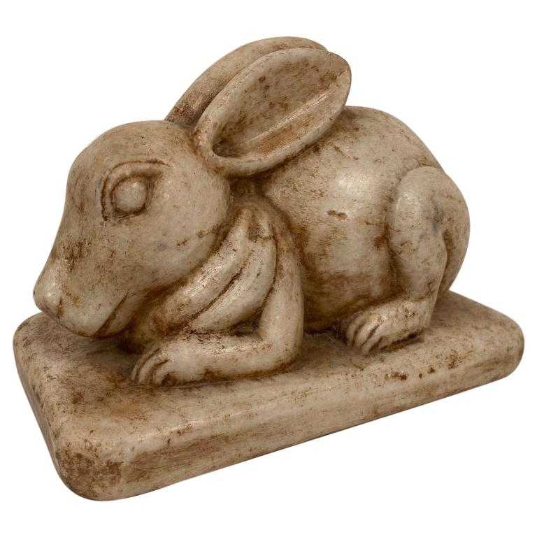 Anglo-Indian Carved Marble Figure of a Rabbit For Sale
