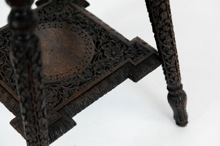 Late 19th Century Anglo-Indian Carved Octagonal Teakwood Table For Sale