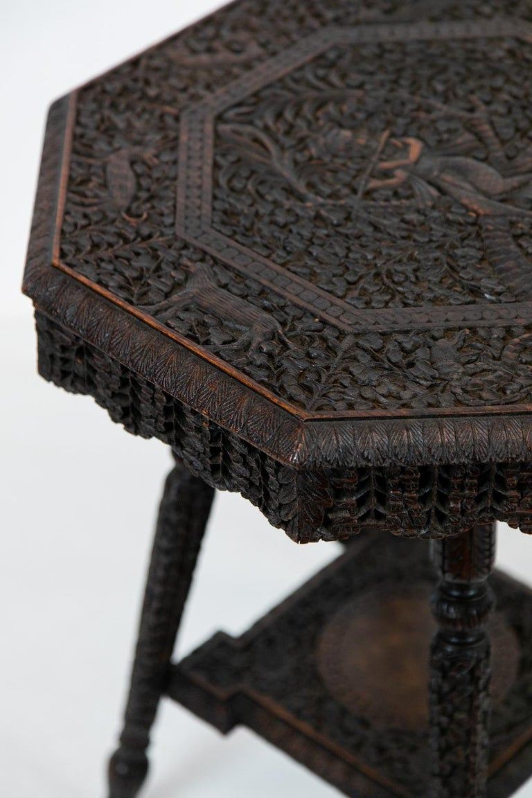 Anglo-Indian Carved Octagonal Teakwood Table For Sale 1