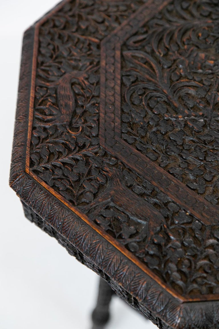 Anglo-Indian Carved Octagonal Teakwood Table For Sale 2