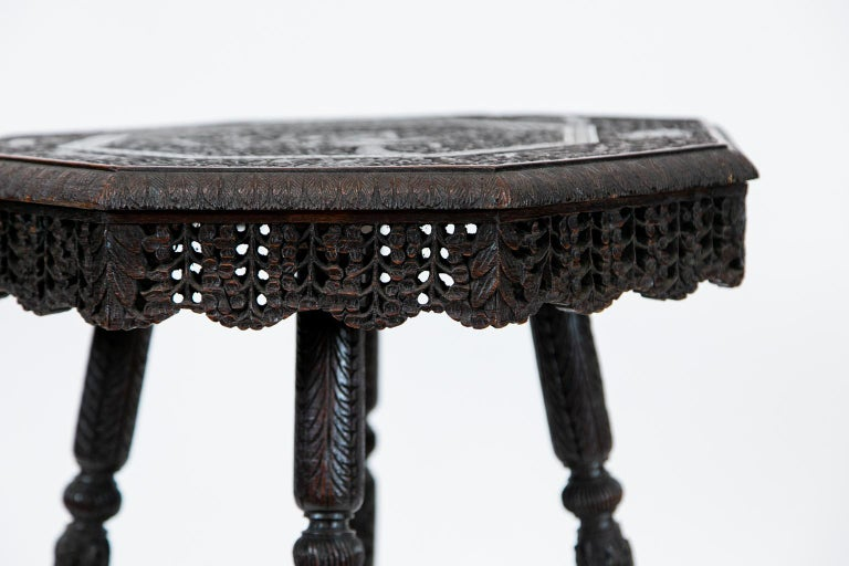 Anglo-Indian Carved Octagonal Teakwood Table For Sale 4