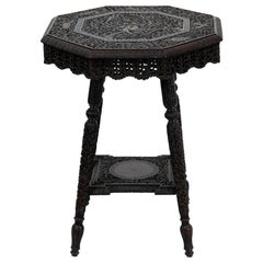Anglo-Indian Carved Octagonal Teakwood Table