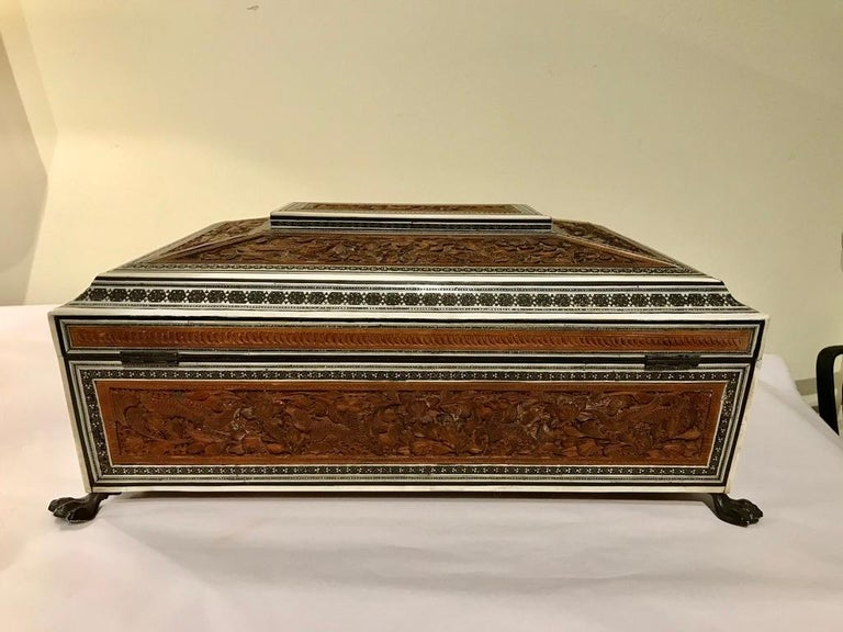 Anglo-Indian Carved Sandalwood and Bone Sadeli Inlaid Box For Sale 14