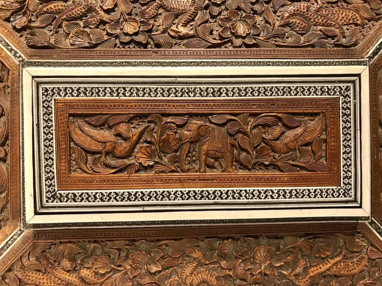 Inlay Anglo-Indian Carved Sandalwood and Bone Sadeli Inlaid Box For Sale