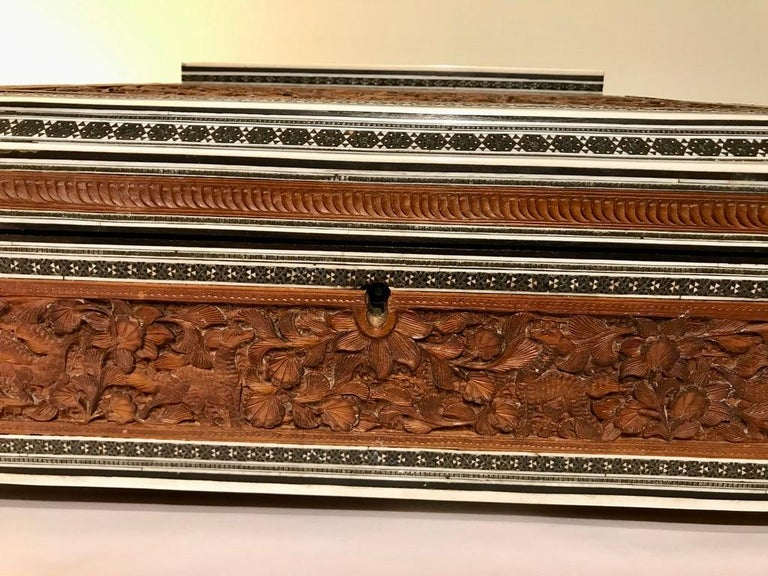 19th Century Anglo-Indian Carved Sandalwood and Bone Sadeli Inlaid Box For Sale