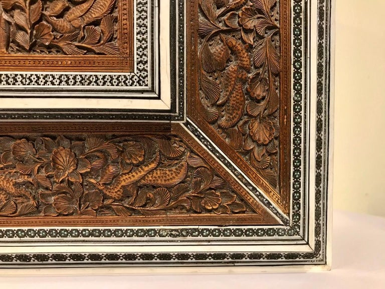Anglo-Indian Carved Sandalwood and Bone Sadeli Inlaid Box For Sale 3