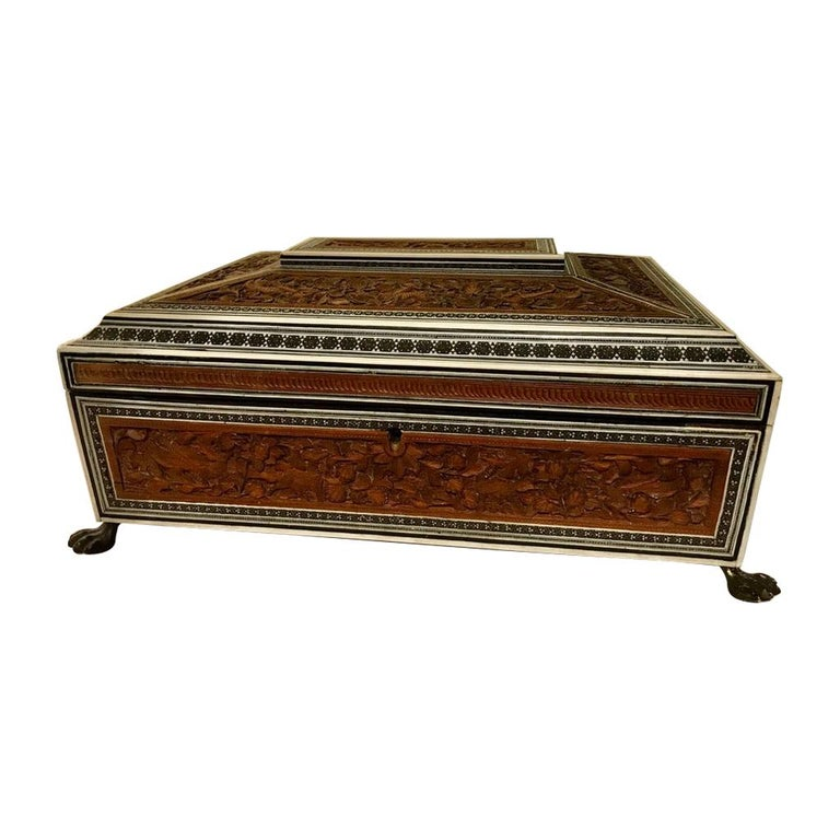 Anglo-Indian Carved Sandalwood and Bone Sadeli Inlaid Box For Sale