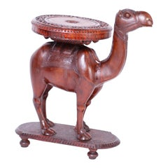 Anglo-Indian Carved Wood Camel Stand