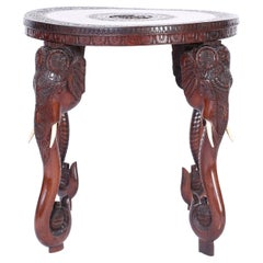 Anglo Indian Carved Wood Round Table with Elephants