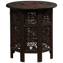 Anglo-Indian Carved-Wood Tea Table Top, Foldable for Storage
