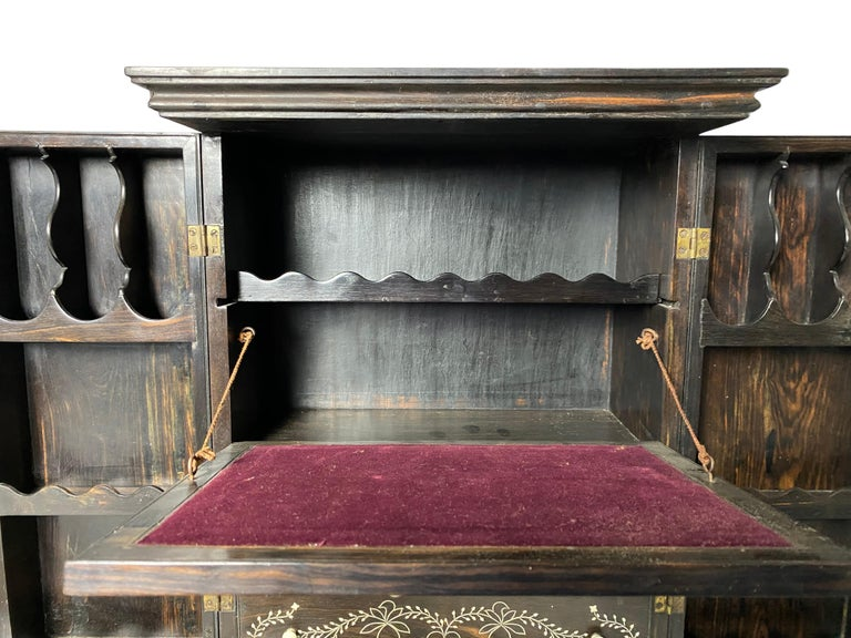 Anglo-Indian Ebony Inlaid Cabinet, 19th Century For Sale 5