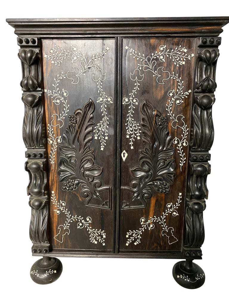 Anglo-Indian Ebony Inlaid Cabinet, 19th Century For Sale 6
