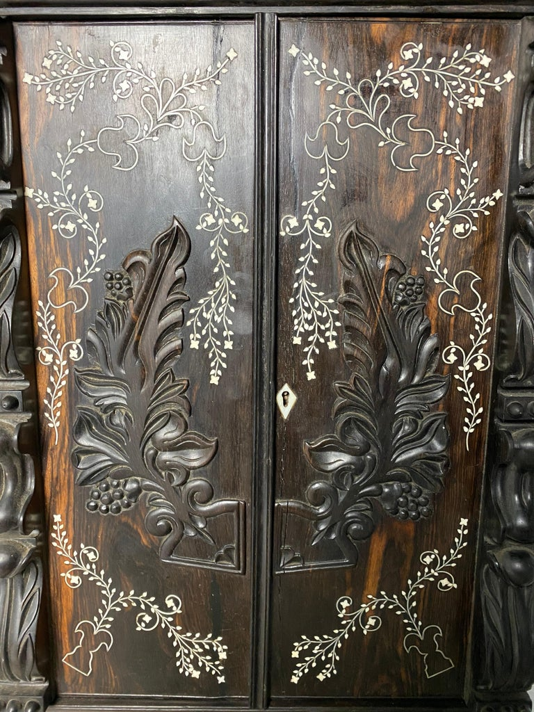 Anglo-Indian Ebony Inlaid Cabinet, 19th Century For Sale 7