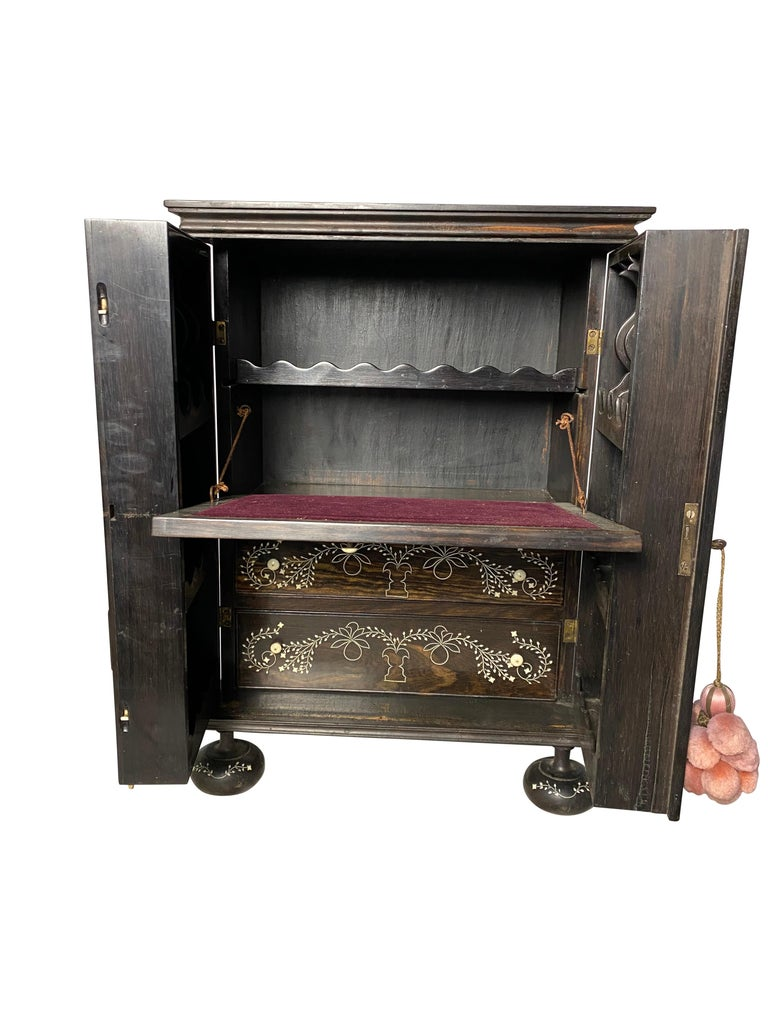 Wood Anglo-Indian Ebony Inlaid Cabinet, 19th Century For Sale