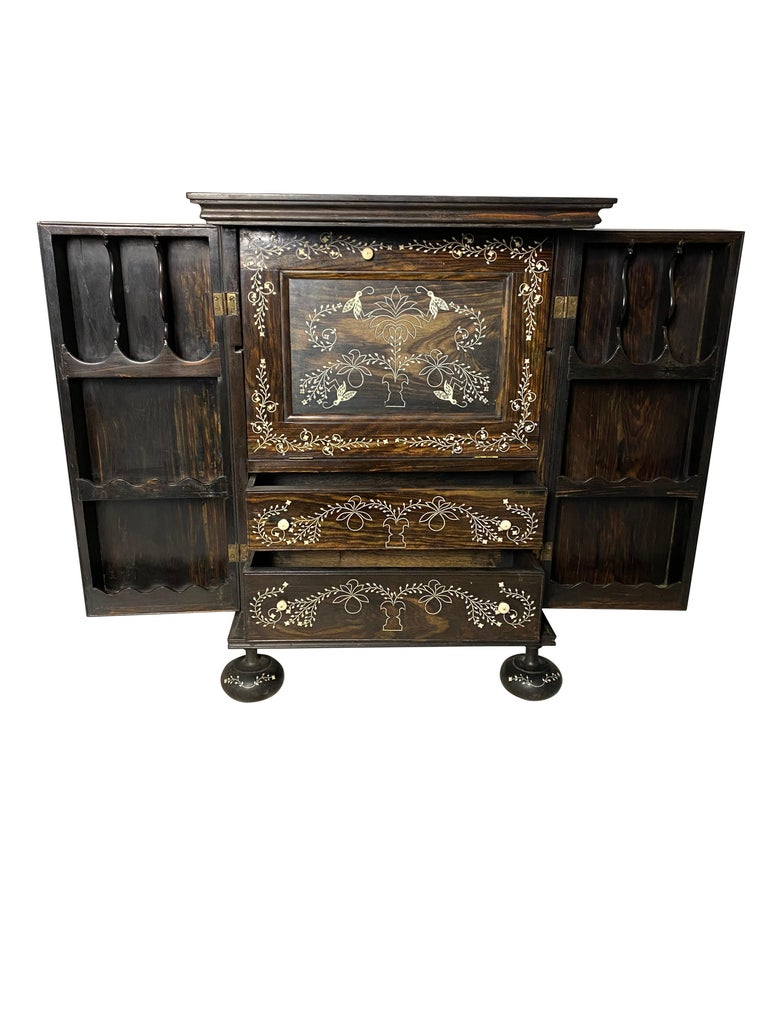 Anglo-Indian Ebony Inlaid Cabinet, 19th Century For Sale 2
