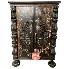 Anglo-Indian Ebony Inlaid Cabinet, 19th Century