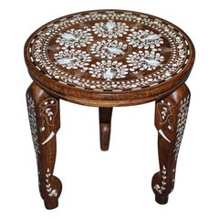 Anglo Indian Export Hardwood Elephant Inlaid Side Lamp End Wine Table Flowers