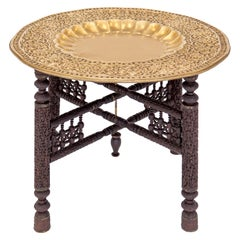 Anglo-Indian Folding Brass Gold Tray Table On Ebony Carved Wood Folding Base