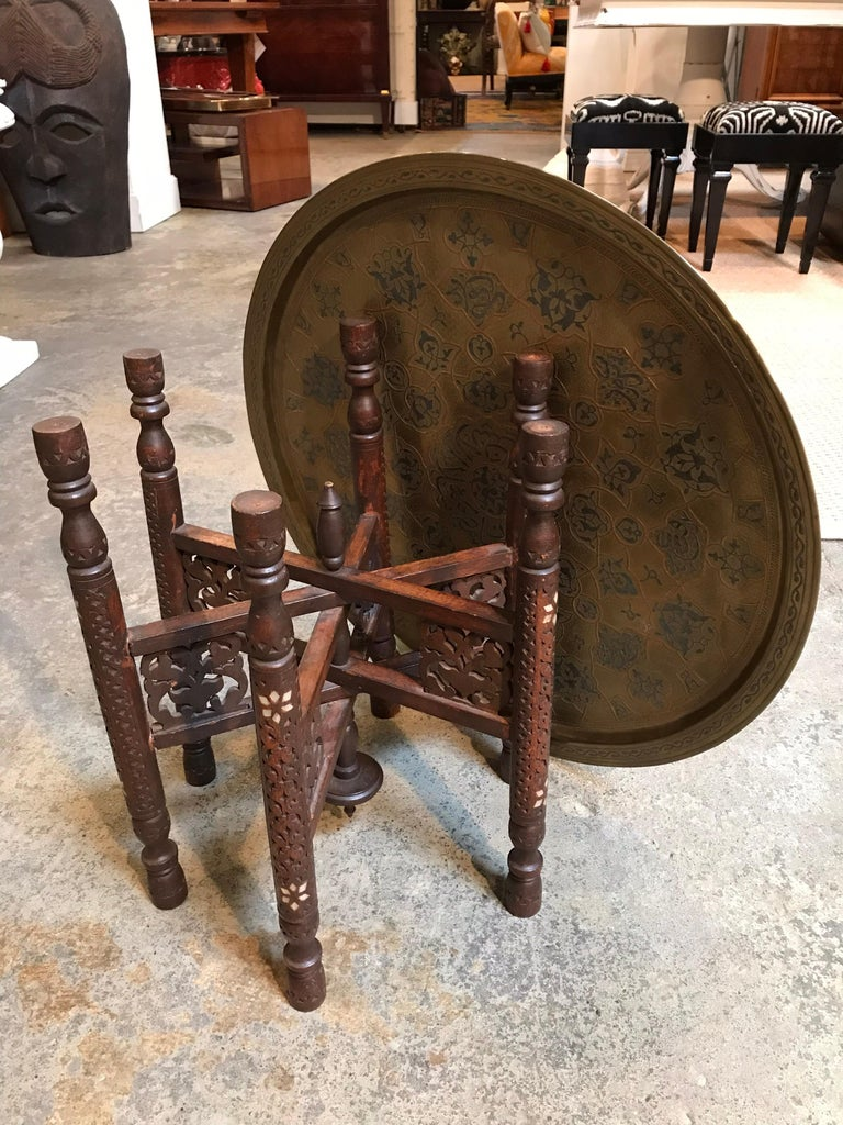 Anglo-Indian Folding Table with Metal Tray In Good Condition For Sale In Dallas, TX