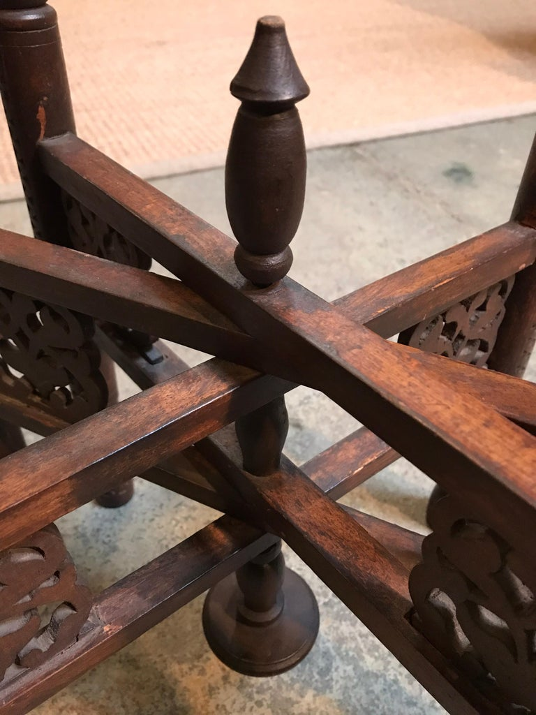 Anglo-Indian Folding Table with Metal Tray For Sale 3