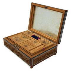 Anglo-Indian Footed Box with Lidded Compartments, 19th Century