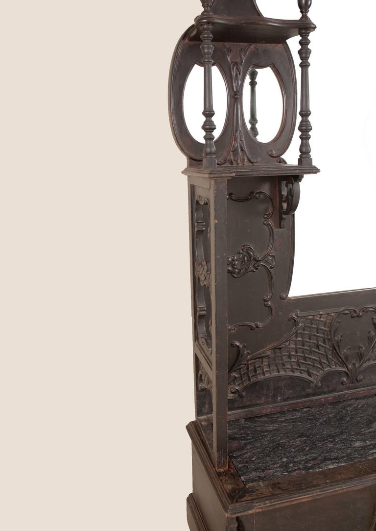 Anglo Indian Hall Mirror With Bench At 1stdibs