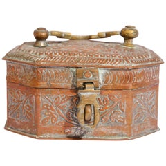 Handcrafted Antique Tinned Copper Metal Betel Box, India