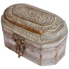 Anglo-Indian Handcrafted Tinned Copper Metal Tea or Spices Caddy Box