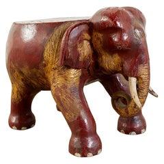 Anglo-Indian Hardwood Carved Elephant Stool