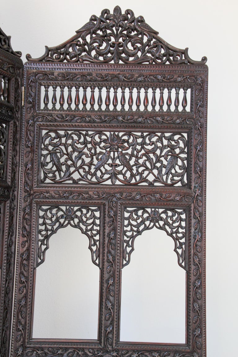 Anglo-Indian Hardwood Three-Panel Screen For Sale 4