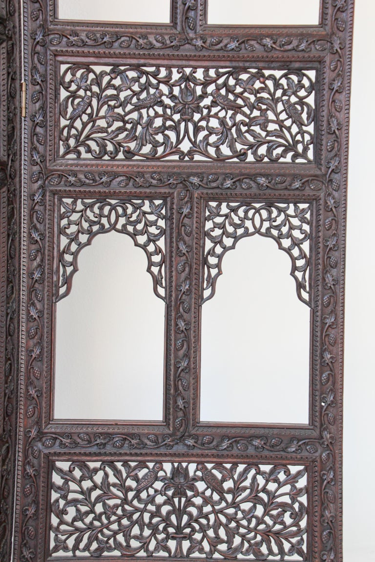 Anglo-Indian Hardwood Three-Panel Screen For Sale 5
