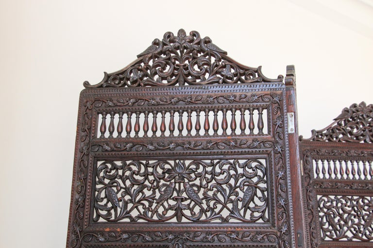 Anglo-Indian Hardwood Three-Panel Screen For Sale 6