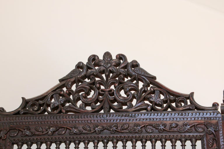 Anglo-Indian Hardwood Three-Panel Screen For Sale 7