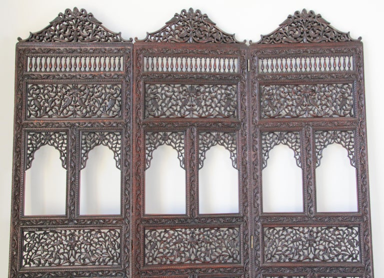 Anglo-Indian Hardwood Three-Panel Screen For Sale 9