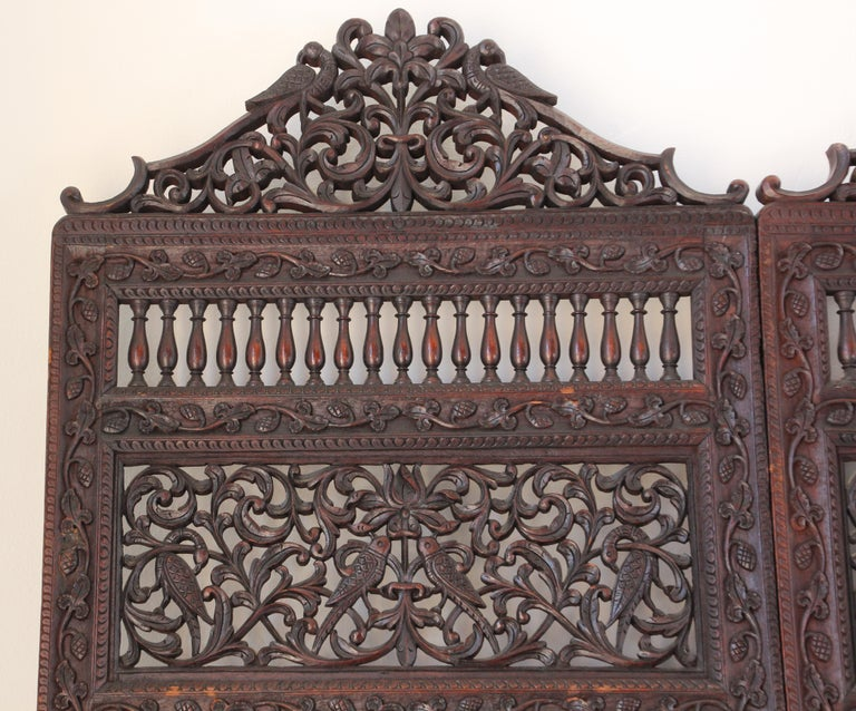 Anglo-Indian Hardwood Three-Panel Screen For Sale 13
