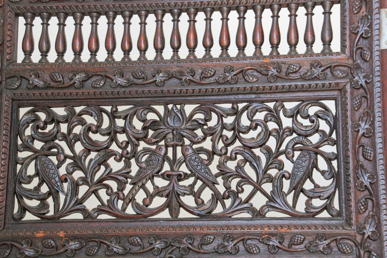 19th Century Anglo-Indian Hardwood Three-Panel Screen For Sale