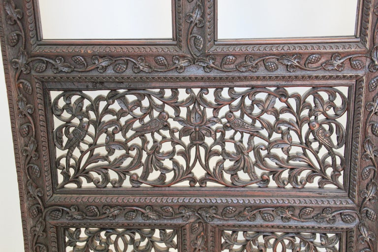 Wood Anglo-Indian Hardwood Three-Panel Screen For Sale