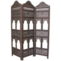 Anglo-Indian Hardwood Three-Panel Screen