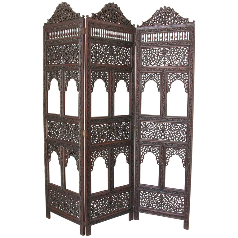 Anglo-Indian Hardwood Three-Panel Screen For Sale
