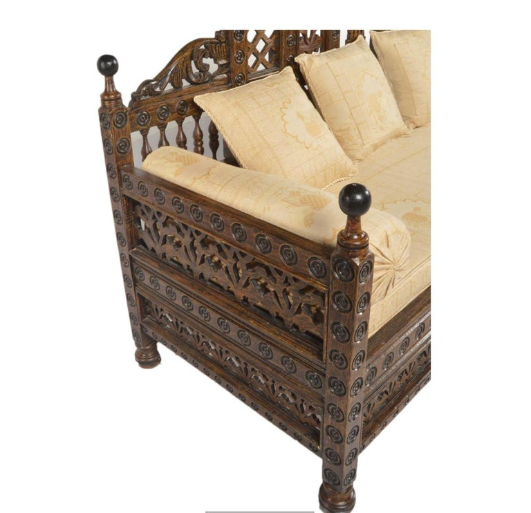 Anglo Indian High Design Wood Settee Moroccan Pattern ...