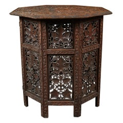 Anglo Indian Intricately Carved Teak Octoganal Folding Side Table