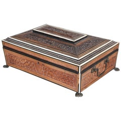 Anglo-Indian large Footed Box with Lidded Compartments, 19th Century