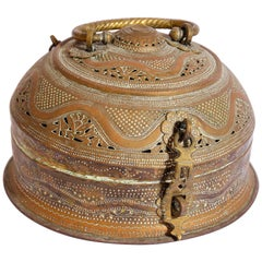 Anglo Indian Large Round Decorative Brass Tea Caddy Box with Lid