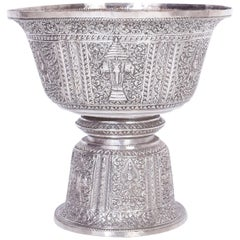 Anglo Indian Large Silver Footed Bowl