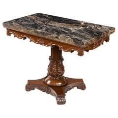 Anglo-Indian Mahogany Table with Nero Portoro Marble Top, White & Co Calcutta