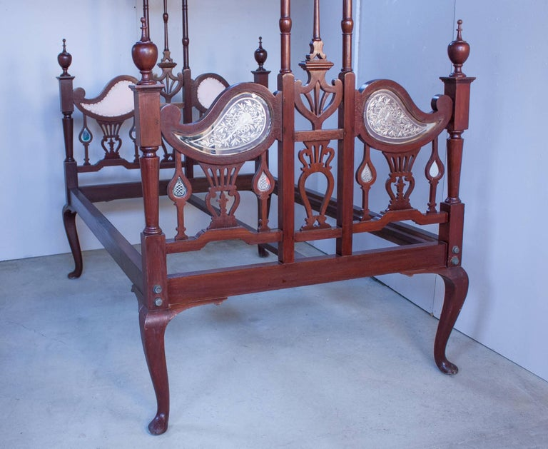 Carved Anglo-Indian Mahogany Tester or Canopy Bed For Sale