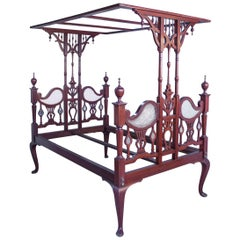 Anglo-Indian Mahogany Tester or Canopy Bed