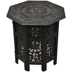 Anglo-Indian Mediterranean Brass Inlay Maple Vine Carved Accent Side Table