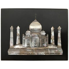 Anglo Indian Mother of Pearl and Black Marble Taj Mahal Paperweight